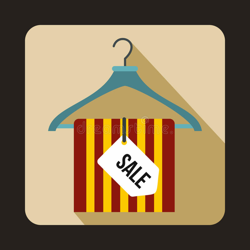 Вешалка с значком бирки продажи, плоским стилем иллюстрация штока