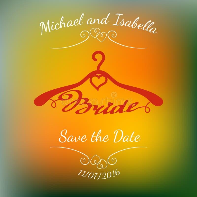 Вешалки свадьбы для невесты над абстрактной красочной запачканной предпосылкой вектора бесплатная иллюстрация