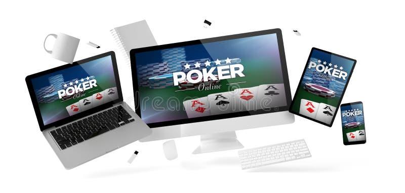 вещество и приборы офиса плавая с вебсайтом покера онлайн иллюстрация штока