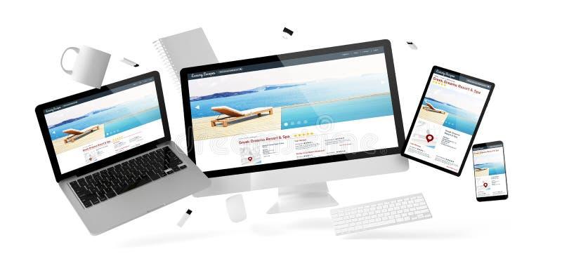 вещество и приборы офиса плавая с делюкс вебсайтом курорта иллюстрация штока