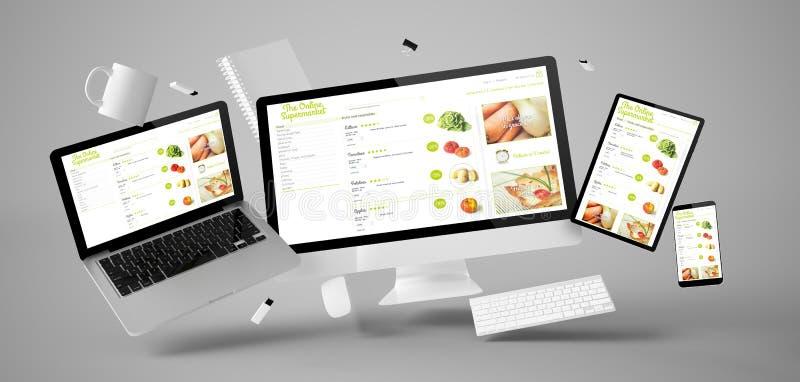 вещество и приборы офиса плавая с онлайн супермаркетом иллюстрация штока