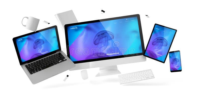 вещество и приборы офиса плавая с отзывчивым охлаждают дизайн мы иллюстрация штока