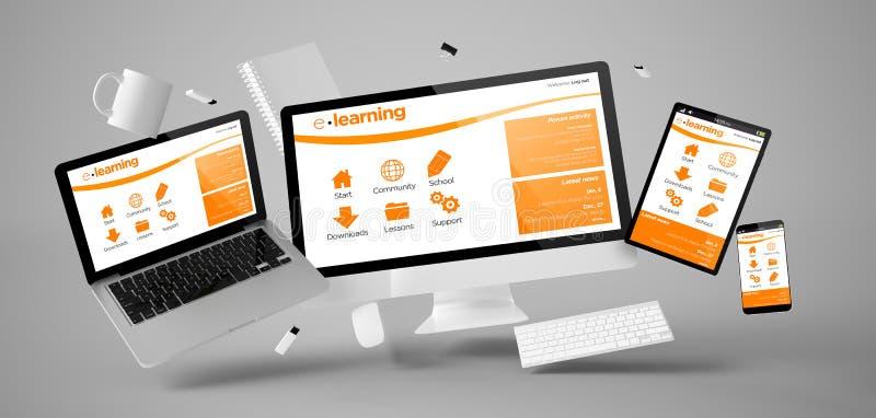 вещество и приборы офиса плавая с платформой обучения по Интернетуу иллюстрация вектора