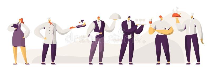Вещество ресторана Мужчина и женские характеры в форме Девушка с тетрадью, вождь администратора в Toque, официантах людей иллюстрация штока