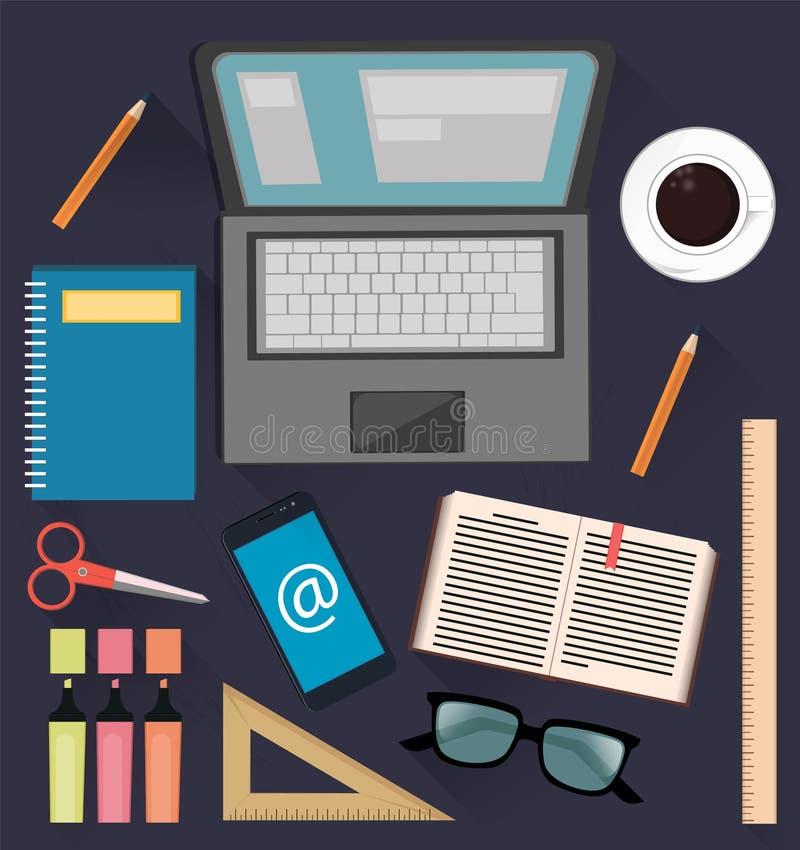 Вещество для изучать и дела Полезные вещи для студентов, работников офиса и бизнесменов иллюстрация вектора