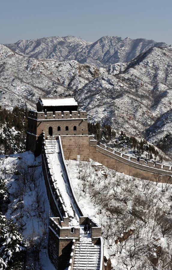 Великая Китайская Стена в снежке белизны зимы стоковое фото rf