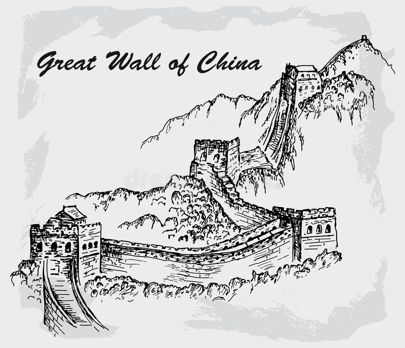Великая Китайская Стена фарфора иллюстрация штока