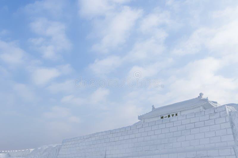Великая Китайская Стена Shanhaiguan снега стоковая фотография rf