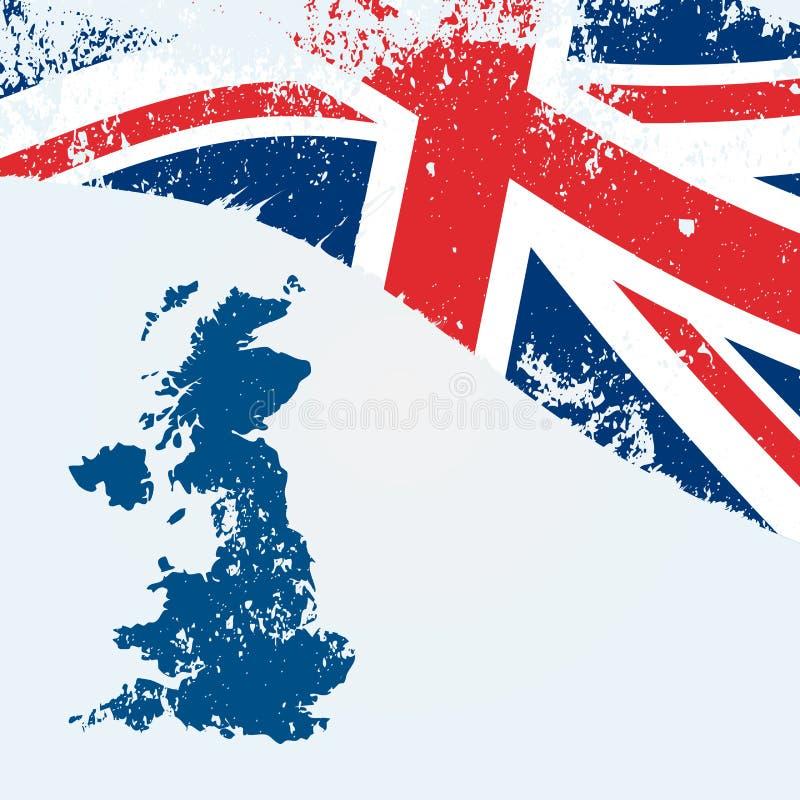 Великобритания или великобританская карта с флагом иллюстрация штока