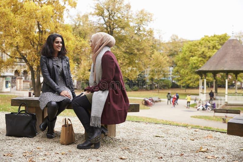 2 великобританских мусульманских женщины встречая в городском парке стоковое фото rf