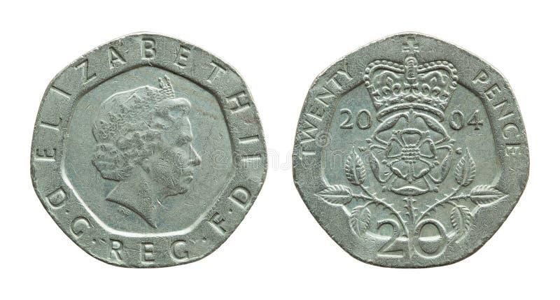 великобританской изолированная монеткой белизна пенни 20 стоковые изображения