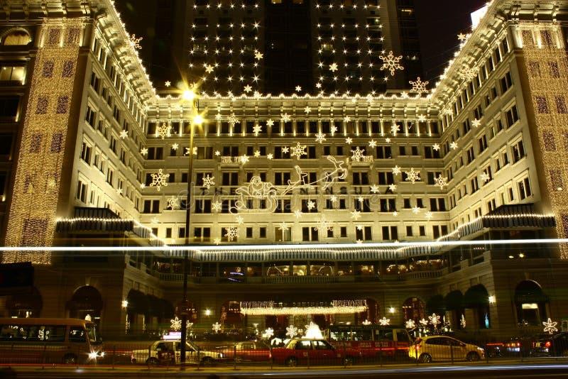 Великолепное украшение рождества гостиницы полуострова в Гонконге стоковые изображения rf