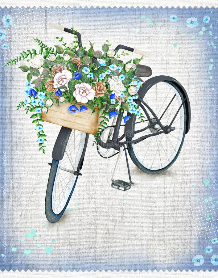 Велосипед акварели черный с красивой корзиной цветка Нарисованный рукой велосипед лета стоковые фотографии rf