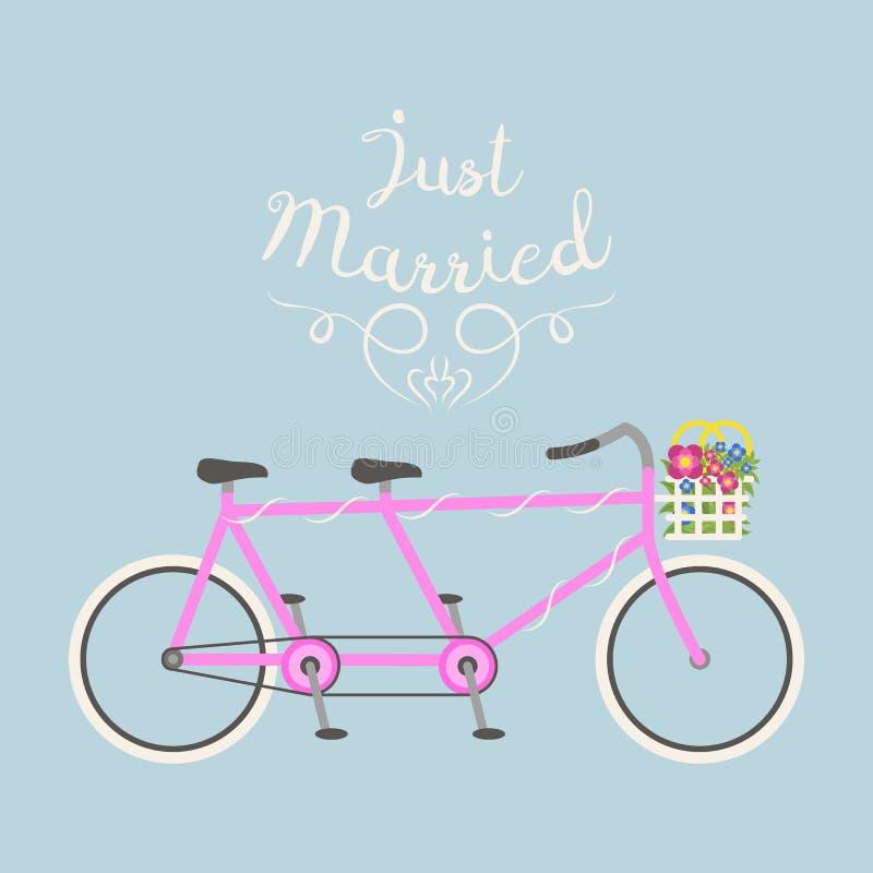 Велосипед битника wedding как раз иллюстрация вектора замужества плоская иллюстрация вектора