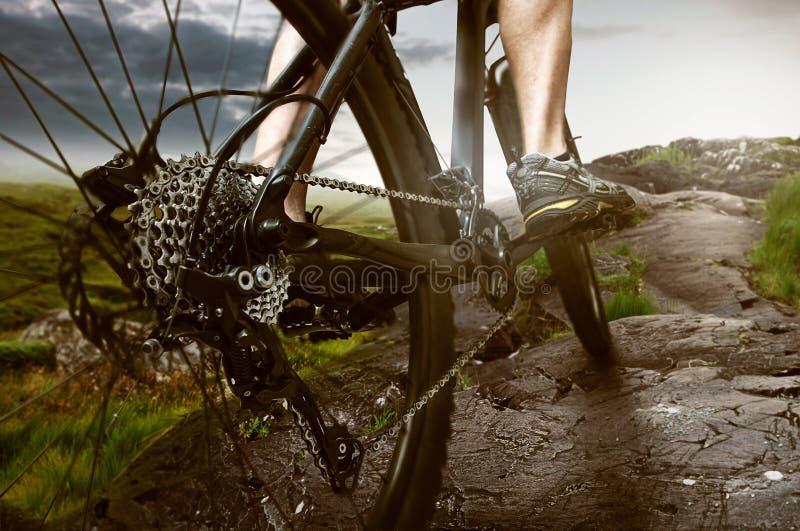 велосипед велосипед перспектива горы рук пущи фокуса поля глубины велосипедиста отмелая стоковое изображение rf