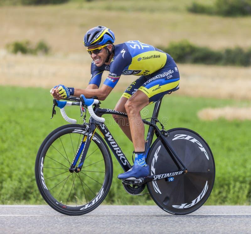 Велосипедист Альберто Contador стоковое изображение