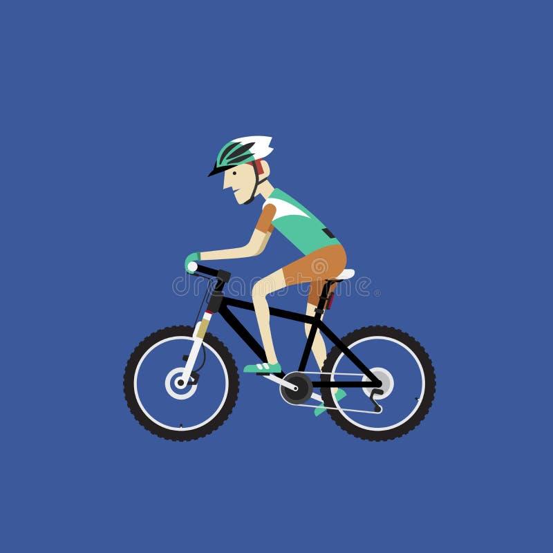Велосипедист ехать горный велосипед, иллюстрация вектора бесплатная иллюстрация