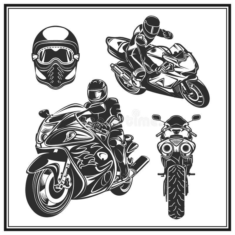 Велосипедист ехать комплект мотоцикла Велосипедисты событие или эмблема фестиваля иллюстрация штока