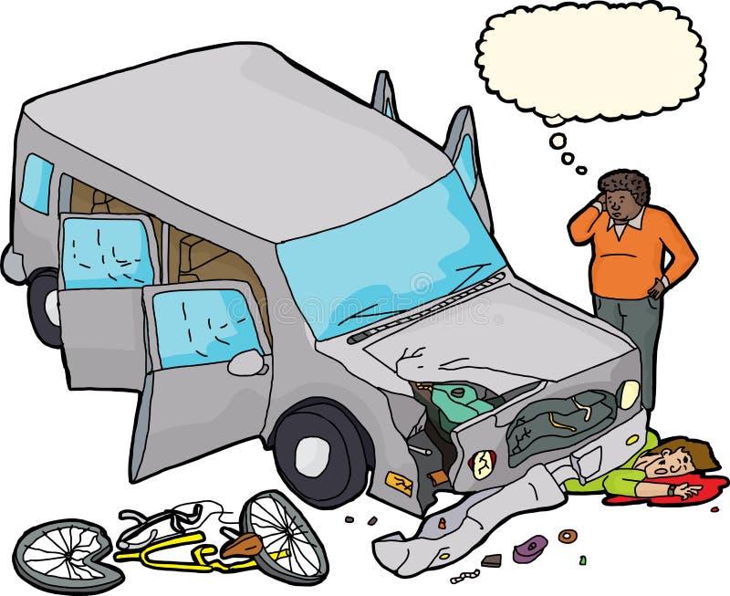 Велосипедист кровотечения под поврежденным автомобилем бесплатная иллюстрация