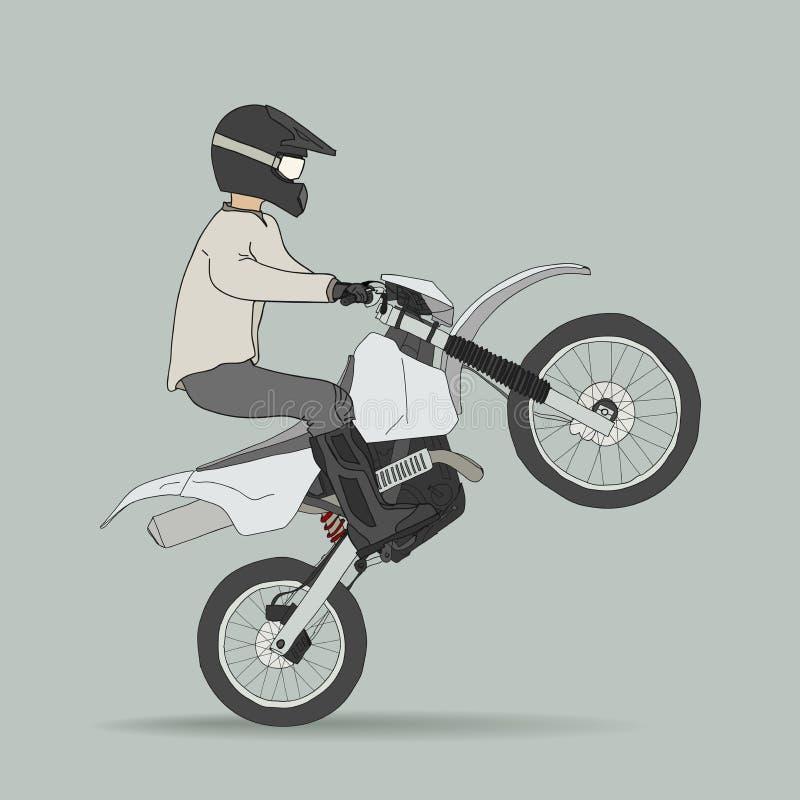 Велосипедист на внедорожных мотоциклах иллюстрация вектора