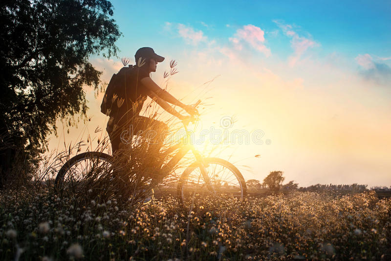 Велосипедист на приключении горного велосипеда в красивой природе цветков захода солнца лета стоковые изображения rf