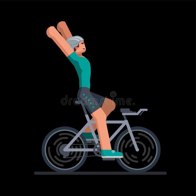 Велосипедист победителя в гонках велосипеда дороги бесплатная иллюстрация