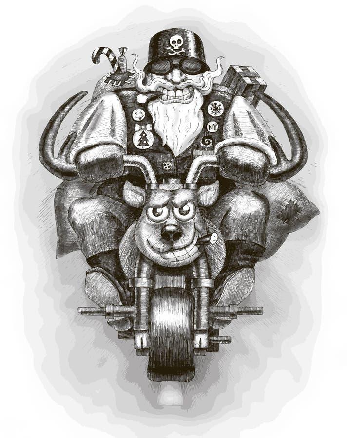 Велосипедист Санта Клауса иллюстрация вектора