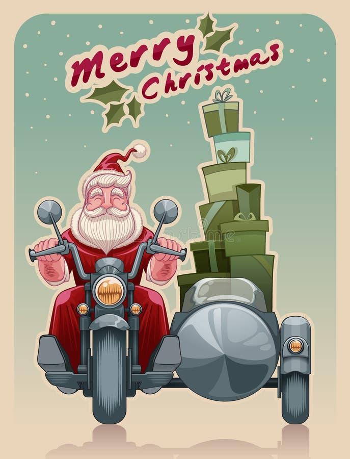 Велосипедист Санты на мотоцикле иллюстрация штока