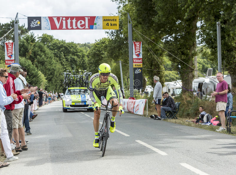 Велосипедист Matteo Tosatto - проба 2015 времени команды стоковые изображения