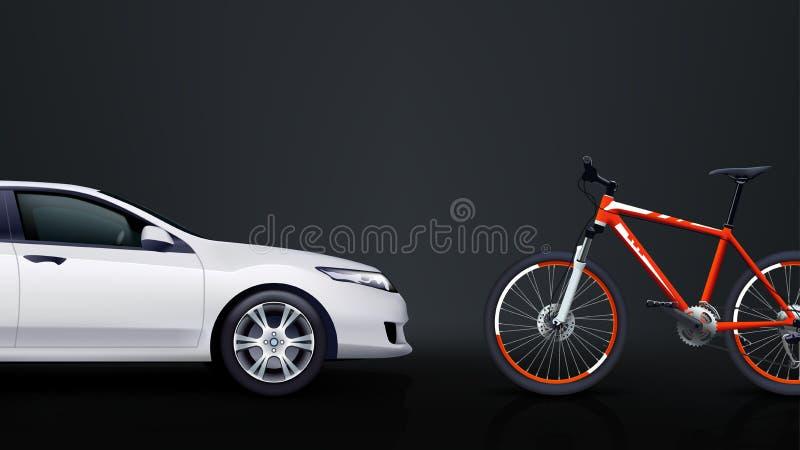 Велосипед и автомобиль 01 иллюстрация вектора