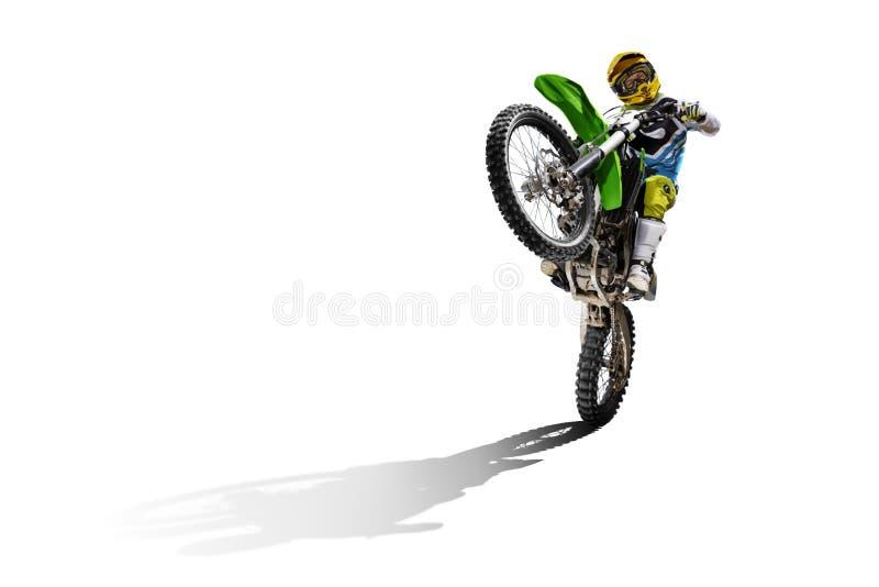 Велосипед и всадник грязи изолированные на белизне стоковые изображения