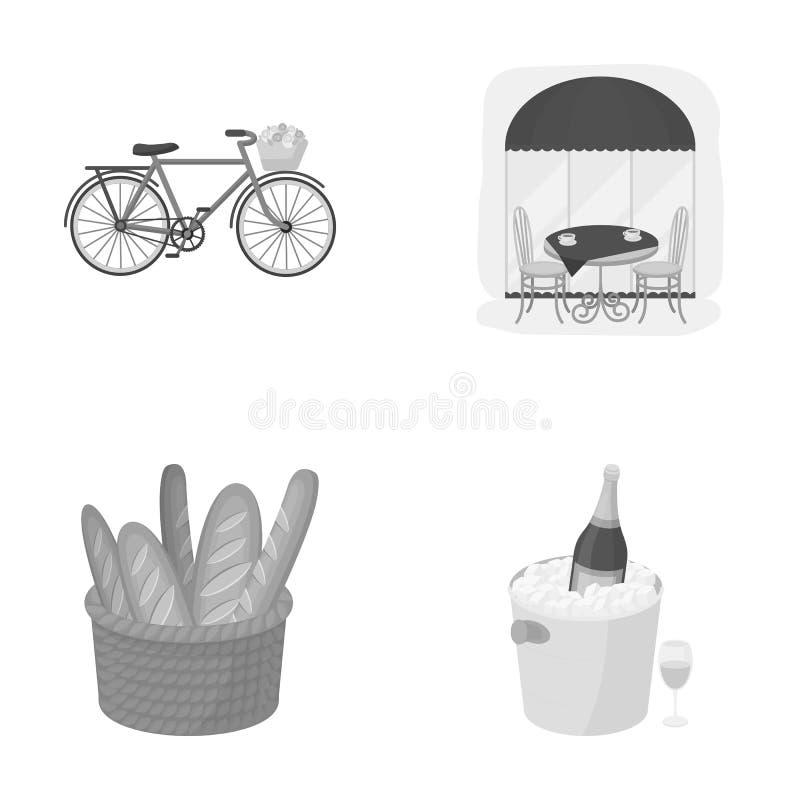 Велосипед, переход, корабль, кафе Значки собрания страны Франции установленные в monochrome стиле vector запас символа иллюстрация штока