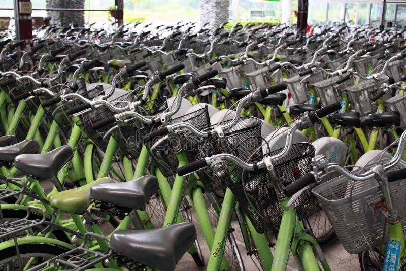 Велосипед ренты в магазине суеты в Luye Tai Tung стоковое изображение rf