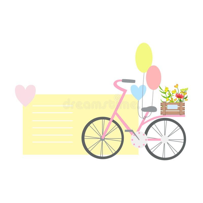 Велосипед с воздушными шарами и заводами на заднем сиденье, тексте элемента сообщения дня валентинок St шаблона отсутствующем иллюстрация штока