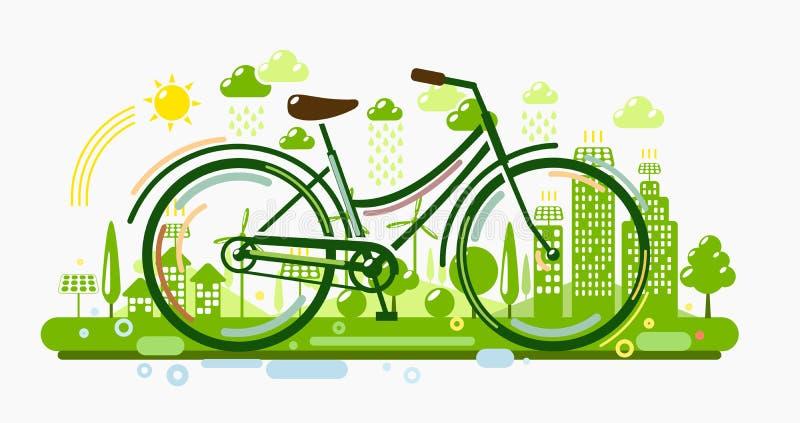 Велосипед с зеленым городом иллюстрация штока