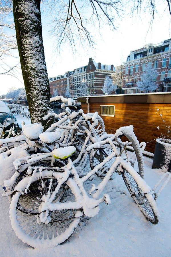Велосипеды предусматриванные в снежке стоковые фото