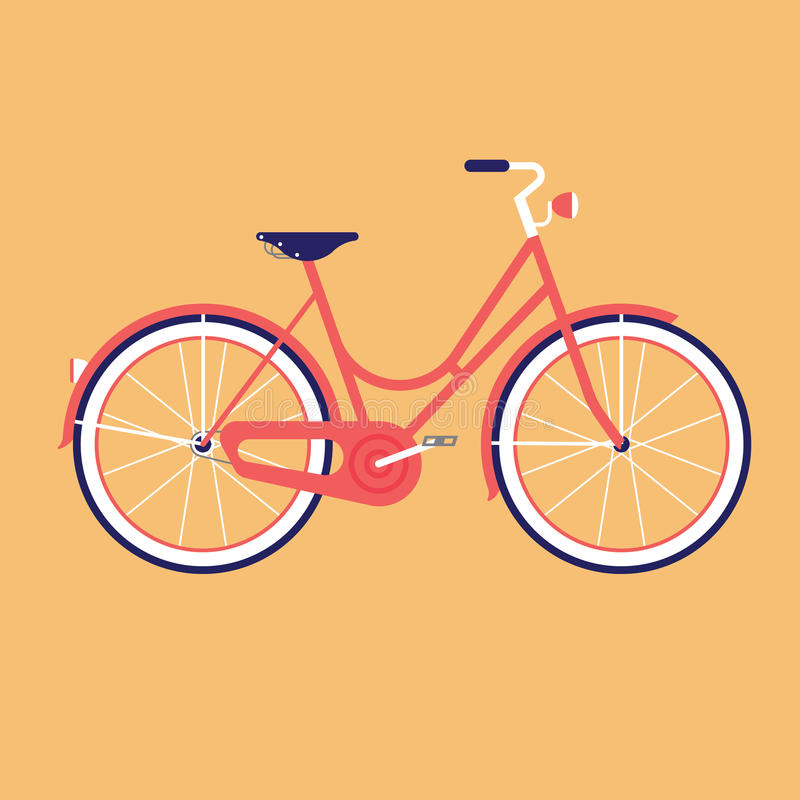 Велосипед для города Плоская иллюстрация вектора стоковые изображения