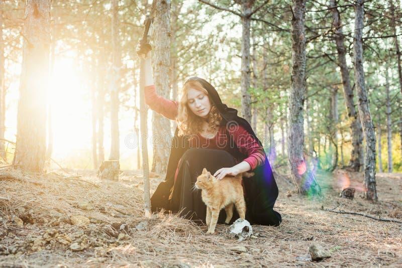 Ведьма в древесине Практикуя волшебство стоковое фото rf