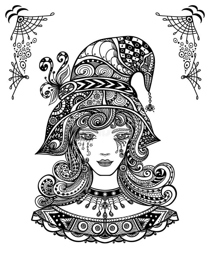 Ведьма в шляпе в Дзэн-doodle или Дзэн-путать декоративном l стиле черным по белому иллюстрация штока