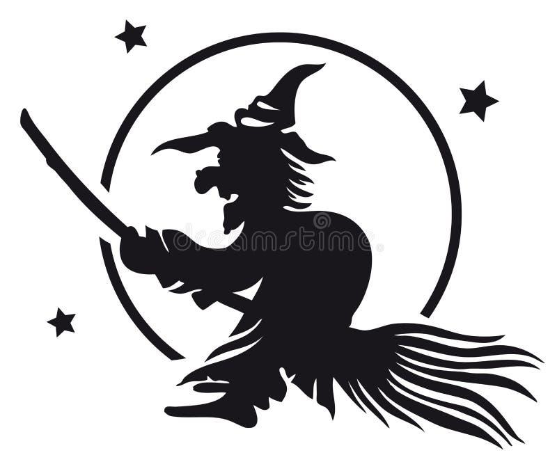 Ведьма на венике иллюстрация вектора