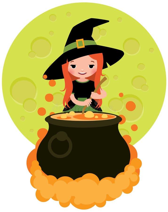 Ведьма хеллоуина подготавливая зелье иллюстрация вектора