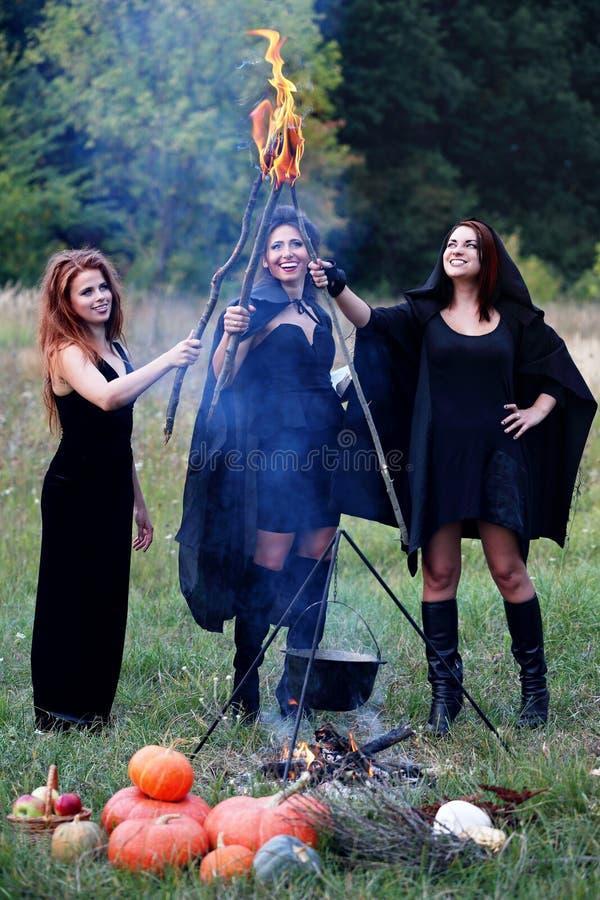 Ведьмы держа факелы стоковая фотография rf