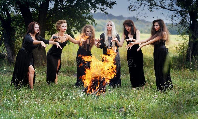Ведьмы колдуют вокруг лагерного костера стоковая фотография rf