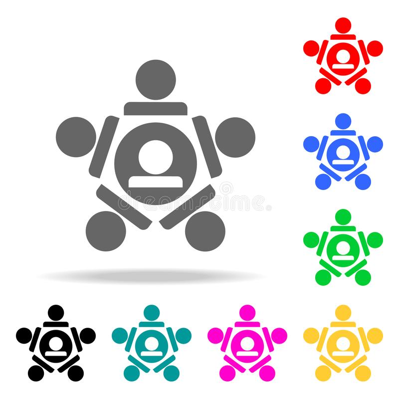 взаимная помощь значка команды Элементы значков сыгранности multi покрашенных Наградной качественный значок графического дизайна  бесплатная иллюстрация
