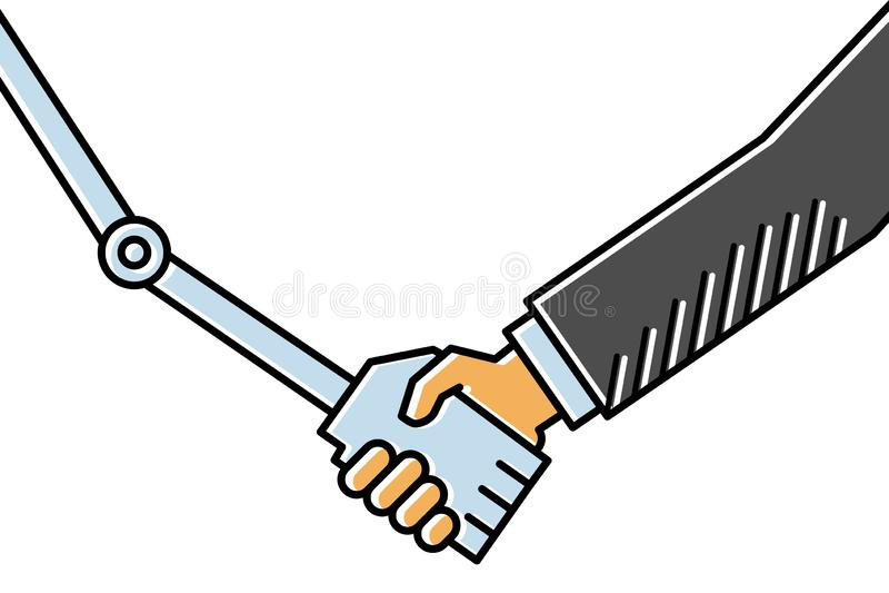 взаимодействие Человеческ-компьютера, рукопожатие между бизнесменом и робот, простая чистая conceptional линия иллюстрация вектор бесплатная иллюстрация