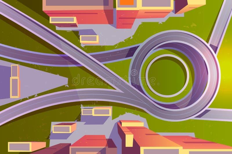 Взаимообмен перехода взгляда сверху в городе, пустой дороге иллюстрация штока