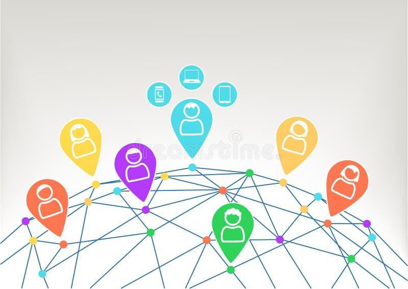Взаимодействие и сообщение внутри социальная сеть с соединенными приборами любят тетрадь, умный телефон и умный вахта иллюстрация вектора