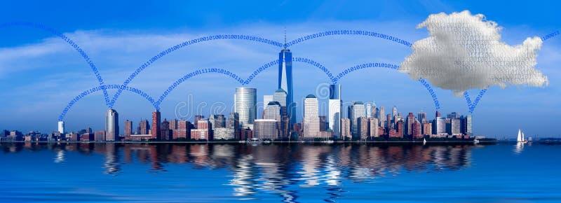 Взаимодействие Нью-Йорк облака вычисляя стоковое изображение