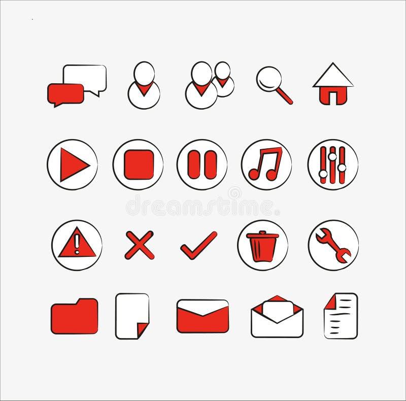 Взаимодействуйте иконы иллюстрация вектора