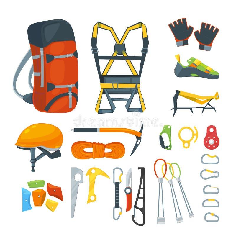 Взбирающся оборудование, vector значки и комплект элементов дизайна Шестерни и аксессуары спорта альпинизма весьма бесплатная иллюстрация